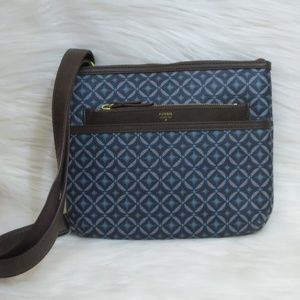 NEW | FOSSIL | Blue Geometric Print | Crossbody